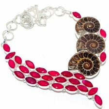 "Ammonite Fossil, Ruby Gems 925 Sterling Silver Jewelry Necklace 18"" 2874"