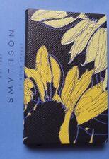 SMYTHSON Panama Note Book Black Leather Yellow Sun Flower