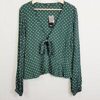 SPORTSGIRL | Womens Green Polka dot Top NEW [ Size AU 14 or US 10 ]