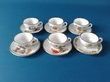 Caverswall Miniature Christmas cups, saucers, x 6  1977 to 1982 four signed