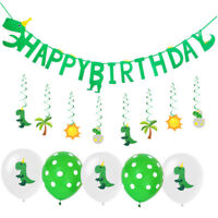happy birthday dinosaur theme paper banner hanging bunting party Xmas diy de_WK
