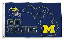 Michigan Wolverines 35203 STATE OUTLINE 3x5 Flag w/grommets Banner University of