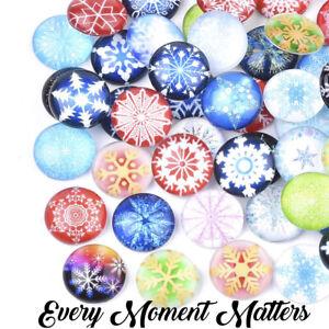 10 x SNOW FLAKE CHRISTMAS DESIGN GLASS CABOCHONS 12mm Random Mix or Pairs