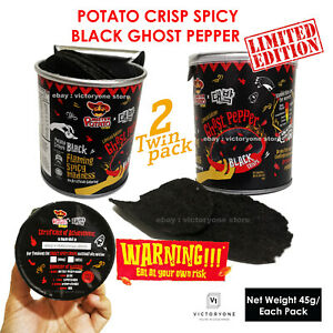 Potato Chips Ghost Pepper Black Crips Crazy Spicy Limited Challenge 2 Packs