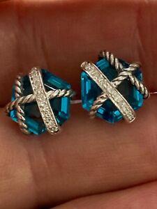 David Yurman Cable Wrap Earrings  BLUE TOPAZ And Diamonds