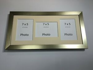 Multi App Photo Frame Gold-Holds 3 x 7''X5'' Choose from 4 mount colours