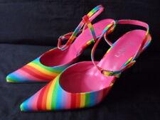 Nuevo 'fe' arco iris de color a rayas en Punta Charol Zapatos UK 3 EU 36