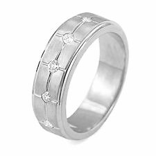 0.25 Ct Men's Bezel Set Round Five Diamond Wedding Ring 14k Gold White Band F-G