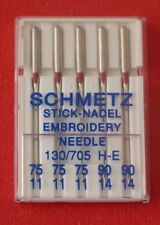 Schmetz Embroidery sewing machine needles pkt of 5,  sizes 3 X 75 and 2 X 90