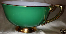 CLARENCE CHINA ENGLAND FOOTED TEA CUP GREEN OUT FLORAL INSIDE GOLD TRIM 385-66