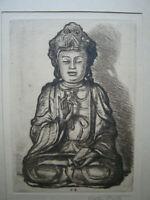 Stretti  Viktor 1935  Budha    radierung  grafik druck  Handpapier
