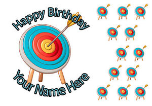 """7.5"""" Cake Topper, 12 cupcakes Archery personal Rice paper,Icing fondant.1083"""