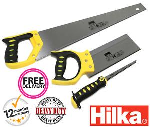 3pce Saw Set Jab saw,Tenon Saw & Hand Saw, Hardpoint Blades Soft Grip Handle New