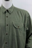 ORVIS Mens XL Green Gingham Check Long Sleeve Button Down Cotton/Wool Blend