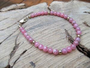 Pink Rhodonite gemstone bead bracelet