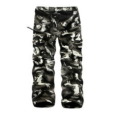 2018 Winter Warm Mens Combat Work Pants Fleece Camo Military Army Cargo Trousers