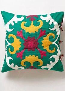 "Anthropologie Euro Sham Dalian Hand Embroidered Cotton Pillow Sham 26"" x 26"" New"
