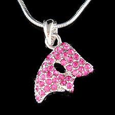 w Swarovski Crystal Hot Pink Phantom of the Opera Masquerade Mask Charm Necklace