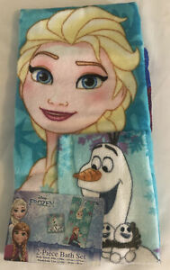 Disney Frozen 2 Piece Bath Set Towel & Washcloth Elsa, Anna, and Olaf