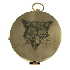 Fox Head Soild Heavy Brass Compass Equestrian Home Decor Vintage