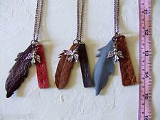 Handmade Leather Feather Pendants & Angel Necklace Metal Chain 3 in a lot