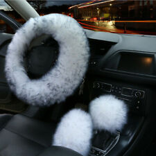 3pcs Fur Car Steering Wheel Cover Mature Gem Blue Wool Furry Fluffy Thick Winter