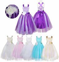 Kinder Mädchen Tüll Kleider Blumenmädchen Kommunionskleid Taufkleid Festkleid