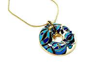 Bijou alliage doré émaillé sur titanium collier donuts art déco necklace