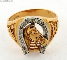 Vintage Horse And Horseshoe Diamond 18k Yellow Gold Mens Ring