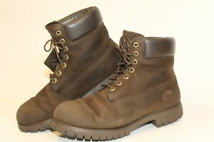 Timberland Mens 10.5 Premium Coffee Brown Leather Work Ankle Boots 34049 2954