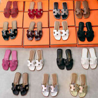 Women Synthetic leather Square Toe Cowhide Slip on Crystal Sandal Flat flip flop