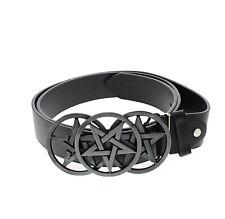 Zac's Alter Ego® Black PU Belt with Triple Pentagram Buckle
