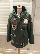 ZARA KHAKI GREEN HOODED PARKA WITH BADGES AND BLACK FUR LINING MED