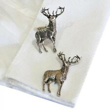 in England High Quality Cufflinks Silver Pewter Standing Stag Handmade