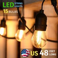 48ft Outdoor Patio Vintage Garden Yard Commercial Grade LED String Lights,IP65