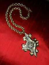 VINTAGE HERALDIC STYLE PENDANT on ROLO CHAIN w TOGGLE GOLD and SILVER Tone