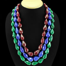 WORLD CLASS 1282.00 CTS NATURAL RUBY,EMERALD & SAPPHIRE PEAR CUT BEADS NECKLACE
