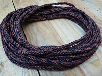 Lederband 8 mm geflochten quadratisch schwarz-braun  Lederschnur Lederriemen 1m