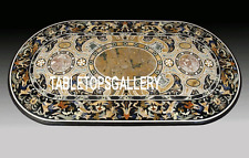 2.5'x4' Black Marble Dining Table Top Pietradura Inlay Hallway Mosaic Deco H3240