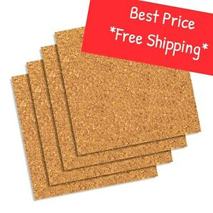"5 x 5 x 1/4"" CORK (4-Pack) Tile Coaster Sheet Bulletin Message board Craft Dart"