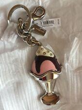 Coach Enamel 3D Ice Cream Sundae Silver Keychain NWT