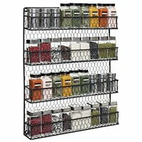 Metal Spice Rack Chicken Wire Rustic Country Style 4-Tier Countertop/Wall Mount