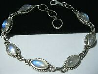 Sterling Silver Natural Rainbow Moonstone Gem Stone Link BRACELET UK Hallmarked