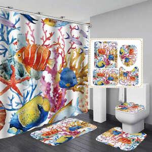 Watercolor Coral Fish Door Bath Mat Toilet Cover Rug Shower Curtain Bathroom Art