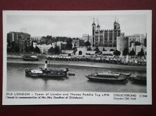 POSTCARD LONDON TOWER OF LONDON & THAMES PADDLE TUG C1910