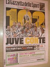 GAZZETTA DELLO SPORT 19/05/2014 JUVENTUS CAMPIONE D'ITALIA RECORD 102 PUNTI