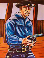 HAVE GUN WILL TRAVEL PAINTING t.v. western cowboy hat colt pistol richard boone