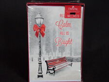 DaySpring Glittery Red B&W Snowy Park Christian 18 Holiday Cards & Envelopes