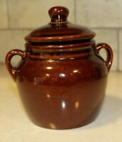 Bean Pot Brown Gloss Glaze Stoneware Handled Covered Crock Vintage Marked USA