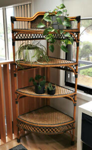 Grange Wicker Cane Rattan Large Corner Shelves / Plant Stand